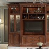 Festes Holz-Esszimmer-Möbelpantry-Küche-Schrank mit Wein-Schrank