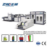 Saco não tecido cúbico automático de alta velocidade da caixa que faz a máquina com cor três