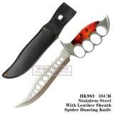 Facas táticas fixas das facas de caça da lâmina dos furos de dedo com couro 35cm HK983