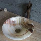 普及した自然な円形の大理石の洗浄流しの石ボールの大理石の浴室の洗面器