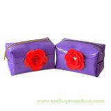Sacchetto cosmetico del PVC con il fiore per la donna