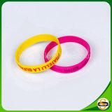 Beste Qualitätskundenspezifischer SilikonWristband mit geprägtem gedrucktem Firmenzeichen