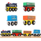 Kids Educational Toy Wooden Magnetic Train Because Compatible Sets Thomas Railway Track Bus