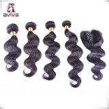 Le double de tissage de prolonge de cheveu d'onde de corps d'usine noient les cheveux humains brésiliens de Vierge de Remy