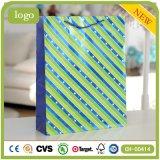 Streifen-grüne Kleidung bereift tägliches Notwendigkeits-Geschenk-Papierbeutel
