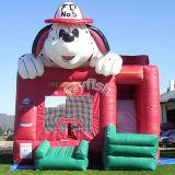 Bouncer di salto gonfiabile del cane del fuoco di Moonwalk con la trasparenza (T3-098)