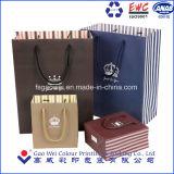 Sacos de papel de luxo personalizado por grosso, saco de papel de imprimir com alça de algodão