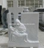 Schwarzer/grauer/roter Marmor-/Granit-Engels-Grundstein für Grab
