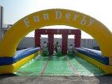 3 Lane Derby Gonflable race avec Pony houblon (B6032,)