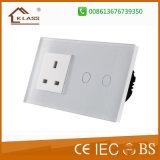 Стенная розетка USB EU стандартная с переключателем касания светлым
