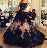 Vestidos de noite longos formais do preto do laço do partido elegante das mulheres