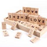 As crianças de madeira Alfabeto de desenhos animados de ensino aprendizagem Números Dominó Blocos de Construção