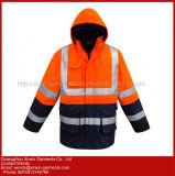 Homens azul da Piscina Fleece Jacket Casaco Segurança reflexivo Vestuário de protecção (W433)
