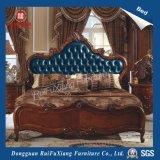 B268 Ruifuxiang 호화스러운 작풍 침실 가구 파란 가죽 침대