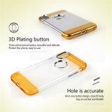 Cubierta híbrida dual protectora de tres capas del caso de la parte posterior del móvil del brillo de la manera para el iPhone 8