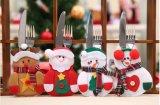 Украшение ножа держателей Flatware обеда рождества костюма Санта и таблицы мешков вилки