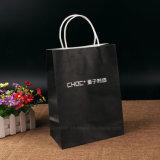 Bolsos de compras blancos del regalo de la impresión del papel negro de la alta calidad