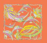 Chinesische Art-Fisch-Muster-Drucken grosse Sqaure Schals