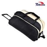 Tejido llano negro grande Trolley maletas bolsas de rodadura de viajes