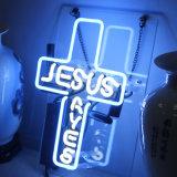 Il segno al neon di vetro illumina Jesus per il manifesto della Camera della stanza