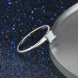 간단한 단백석 반지 로듐은 925 은 순은 형식 보석을 도금했다