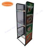 Présentoir latéral simple d'étagère de boissons de fil en métal pour des bidons