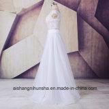 weg von der Schulter-Spitze A - Zeile Chiffon- Strand-Hochzeits-Kleid