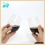 vidro de vinho Stemless da curva descartável plástica do dedo 10oz, cálice plástico do partido,