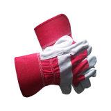 Katoenen van het Leer van de Handschoen van het Werk van het Leer van de Koe van de Handschoenen van het Lassen van de rode Kleur de Gespleten Handschoenen van de Veiligheid
