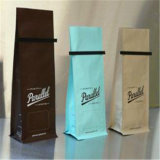 Bolso de café lateral del papel de Brown del escudete con la válvula de la desgasificación