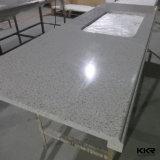 Dessus blanc pur de vanité de salle de bains de pierre artificielle de quartz