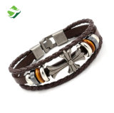 Fabrik-Preis-Formhandgemachtes Punkquermens-Leder-Armband