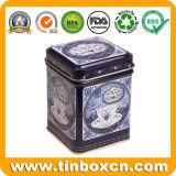 Caja cuadrada del té del estaño del metal para el rectángulo de empaquetado del carrito de té