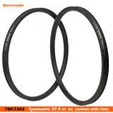 30 mm de ancho 30 mm de profundidad Hookless MTB Taiwán 27,5er Fibra de carbono ruedas de bicicleta