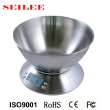 Aço inoxidável 5kg Balança de cozinha eletrônica retroiluminado com a Taça