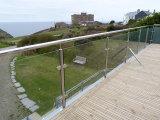 Columnas del acero inoxidable, poste de la cerca de la escalera, barandilla de cristal de la abrazadera