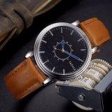 H305 Pointeur de quartz de conception en cuir bleu regarder le logo OEM Business Men Watch étanche