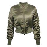 Nouvelle conception de l'armée de femmes vert Veste Veste de bombardiers vestes solide