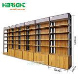 Madera de metal de doble cara Panel liso góndola de supermercado estanterias