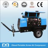 247CFM 7bar portátil Diesel compresor de aire de 2 ruedas para excavar