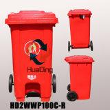 Caixote do lixo plástico 100L roda de borracha reciclagem para a piscina