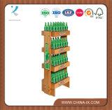 Rack de exibição de madeira com formato de madeira personalizado com rodas