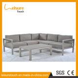 Secional em forma de L anodizado do sofá de alumínio do sofá da sala de visitas canto moderno com mobília ao ar livre do sofá do jardim da mesa de centro
