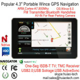 "Billig 4.3 "" Portable Sat Nav Navigation Device Car Moto Truck GPS Navigator mit ISDB-T Fernsehapparat Bluetooth Handels-in für Rear View Parking Camera, Speed Camera"