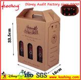 Коробка вина Corrugated картона фабрики с ручкой & окном для упаковывать вина 3 бутылок