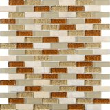 Beige Kristallglas-Fliese-Streifen Backsplash Glasmosaik-Fliese