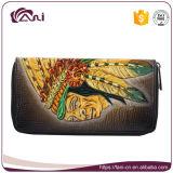 Длинний бумажник для женщин, бумажник застежки -молнии неподдельной кожи высокого качества выбитый