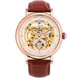 自動機械人の腕時計のステンレス鋼のサファイアの革Horloges Mannen特別で贅沢なBigestのダイヤルの骨組