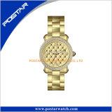 Montre-bracelet résistante de diamant de l'eau de qualité de cadran d'obsidien