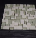 Mattonelle di mosaico di vetro della miscela di pietra di marmo bianca di cristallo naturale